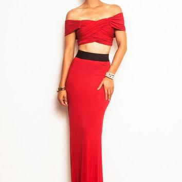 ARIEL - Dual Slits Belted Slitted Maxi Skirt Black, Red (Michael Kors, Ralph Lauren, A