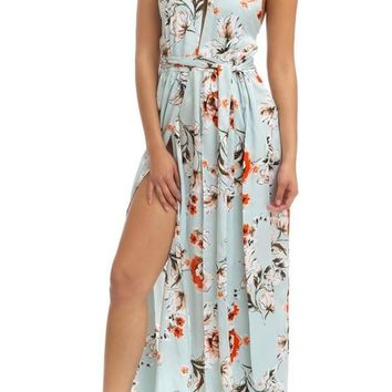 Day Dream Believin Satin Floral Maxi Dress