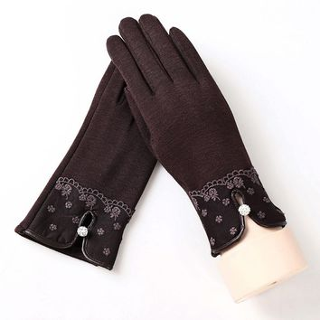 2017 Women's Gloves | Elegant Fleece With A Lace Pattern