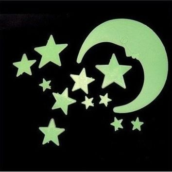 12pcs/Lot Noctilucent Stars And Large Moon Home Wall Glow In The Dark Star Stickers Decal decor Baby Kids Gift Nursery Room