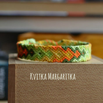 Friendship Bracelet woven vegan lemon Eco-friendly  green  Fiber Cotton Hippie Boho macrame wristband valentine Love Boyfriend Girlfriend