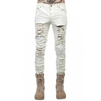 Men Jeans Biker Stretch Skinny Hole Ripped Washed Casual Solid Men Denim Jeans Pencil Pants Distressed Retro Fashion