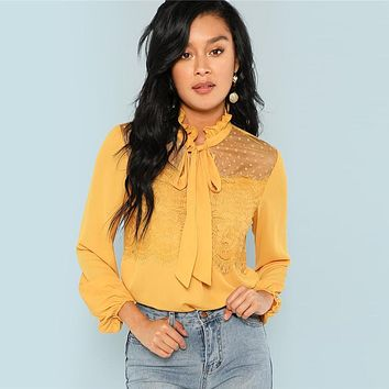 Ginger Tie Neck Lace Contrast Solid Top Elegant Casual Stand Collar Ruffle Tops Women Long Sleeve Workwear Blouses