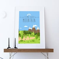 Climb Every Mountain Print Illustration Inspirational Art Print Vintage Giclee on Cotton Canvas and Paper Canvas Poster Wall Decor