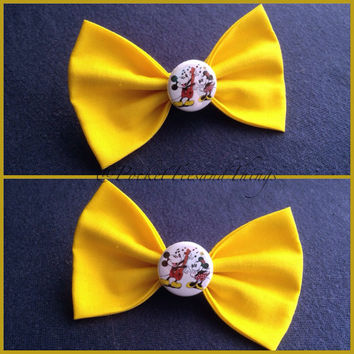 Mickey & Minnie Mouse Hair Bow by PocketTeesandThings on Etsy