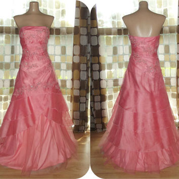 Vintage 90s Coral Pink Cinderella Ball Gown Beaded & Sequins Strapless Crinoline Bridesmaid Prom Dress Sz 4 Small ALYCE