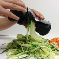 home cooking Vegetable Spiral Slicer Cutter Spirelli Kitchen Tool Spiralizer Twister Grater (Size: M, Color: Black) [8045597319]