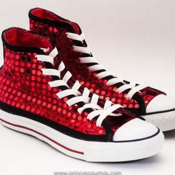 DCKL9 Red & Black Sequin Hi Top Converse Sneakers Shoes