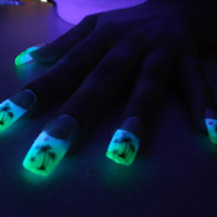 BioLumiNails - Green/Blue Palm Tree -unique, glow in the dark, full cover, fake nails, designs, gift for her