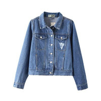 2016 Trending Fashion Women Stars Big Hole Ripped Destroyed Distressed Jeans Denim  Sweater Cardigan Coat Jacket Outerwear _ 9946