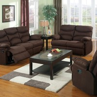 3 pc Arcadia collection chocolate microfiber upholstered motion sofa , love seat and recliner with recliner ends
