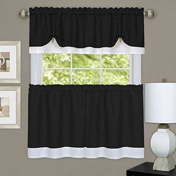 Ben&Jonah Collection Darcy Window Curtain Tier and Valance Set 58x24/58x14 - Black/White