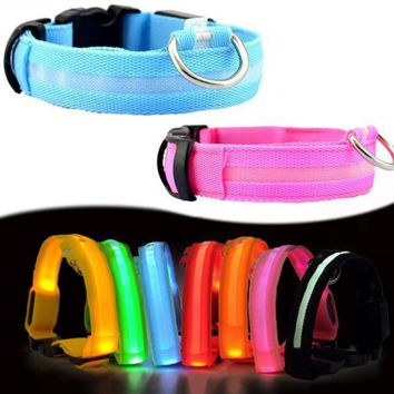Nylon Dog Collar Flash Night Safety LED Glow Dog Harness Pet Supplies Cat Collars Creative Accessories Dogs Luminous Fluorescen