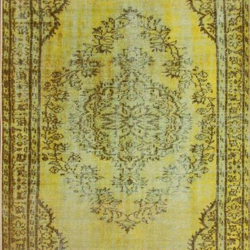 nuLOOM Machine Made Vintage Inspired Overdyed Rug Funky Yellow