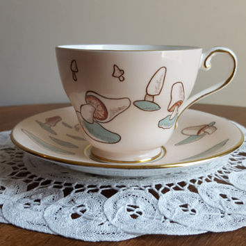 Vintage Aynsley Mushroom Teacup and Saucer in Dusty Rose, Gold Gilding, Blue and Burgundy, Pristine Condition, Kitschy, Made in England