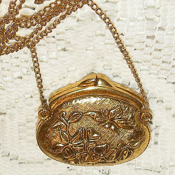 Vintage Perfume Pendant Purse Necklace Solid Perfume Corday