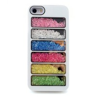 For iPhone 5 or 5S -White Luxury Loose Crystal Glitter Bead Case Colorful Mosaic Design (Style D)