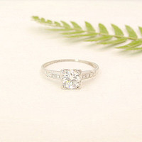 Art Deco Diamond Engagement Ring, Fiery European Transitional Cut Diamond, Classic Platinum Setting, Engraved 1935, Custom Sizing Included