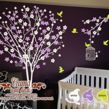 nursery idea flower tree birds wall decal nursery wall art mural children office wall decals -flower tree birds birdcage Z124a Cuma