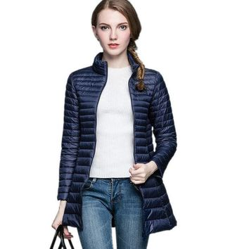 ONETOW NEWEST 2016 Woman 90% White Duck Down Long Jacket Female Overcoat Ultra Light Slim Solid Jackets Winter Coat Portable Parkas
