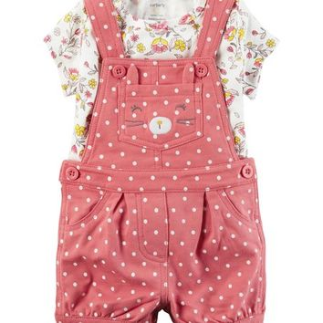 Carter's White & Yellow Floral Tee & Pink Pin Dot Bunny Shortalls Set - Infant