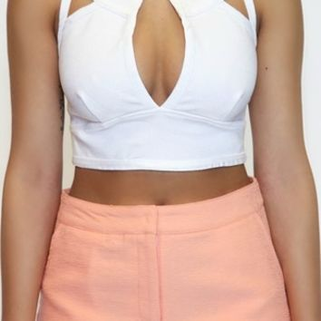 Cut In Crop in White | Wow Couture