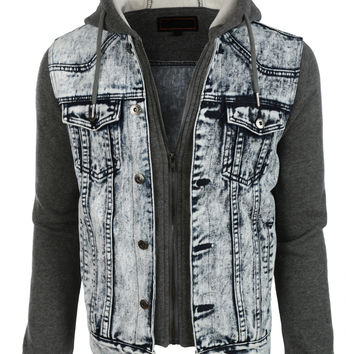 LE3NO Mens Casual Long Sleeve Denim Jean Jacket with Hoodie