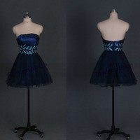 2014 dark navy tulle homecoming dress with sequins,cheap short women gowns for holiday party,chic strapless prom gowns hot,cocktail dresses.