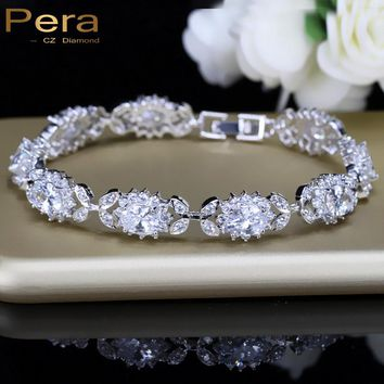 Pera CZ Luxury Bridal 925 Sterling Silver Costume Jewelry Connected Clear White Big Flower Chain Bracelet For Wedding Gift B071