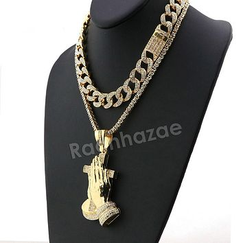 Hip Hop Quavo PRAYING HANDS Miami Cuban Choker Tennis Chain Necklace L19