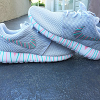 Womens Custom Nike Roshe Run sneakers, South Beach teal, Pink petals, Customized sneakers, Fashionable design, trendy and cute, platinum