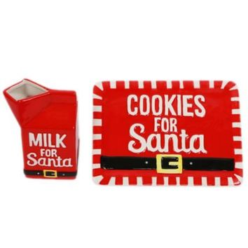 Santa's Cookie Plate & Milk Carton Set
