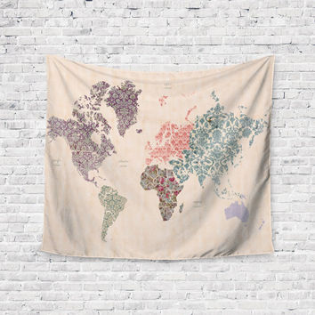 Flower World Map  Trendy Boho Wall Art Home Decor Unique Dorm Room Wall Tapestry Artwork
