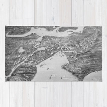 Vintage Pictorial Map of Seattle (1908) Area & Throw Rug by BravuraMedia | Society6