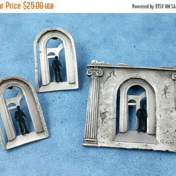 Vintage JJ 1988 Walking Into Old Building Tall Columns Crumbling Walls Iconic Design Elements Brooch Pierced Earring Set Very Cool!