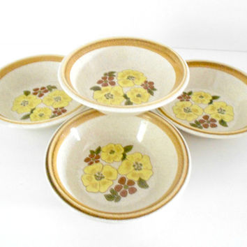 Mikasa Stone Manor Stoneware Bowls Floral Serving Dishes Set of Four Soup Cereal Made in Japan