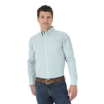 Wrangler Men's Western Fashion Grey Blue Green Plaid Long Sleeve Shirt - MG2028M