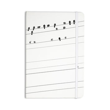 "Qing Ji ""Birds on Wire"" Black White Everything Notebook"