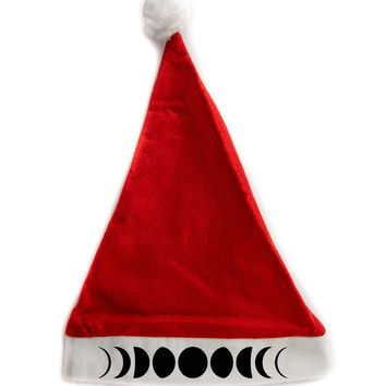 Luna Moon Phases Holiday Christmas Hat Santa Cap Red/White Felt w/ Pom Pom Merry Gothmas