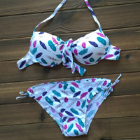 Womens Feather Pattern Bikini Swimsuits Two Pieces