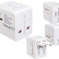 AE803 1W 1A USB Universal World Travel Power Adapter (White)