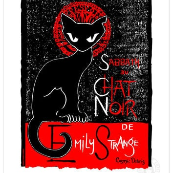 Sabbath Chat Noir, 11x14 Emily The Strange Art Print Cute Black Cat Kitty Love