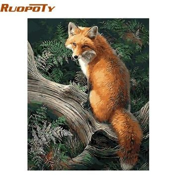 RUOPOTY Frame Fox Animals DIY Painting By Numbers Kits Modern Wall Art Canvas Painting For Unique Gift Home Wall Artwork 40x50cm