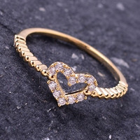 Thin Rhinestone Heart Ring - Gold or Silver