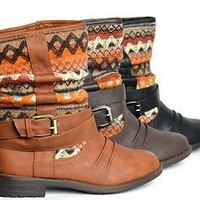 New Womens Ankle Boots Short Trendy Faux Leather/Fabric Pattern Black Tan Brown