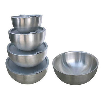 4 Piece Double Wall Stainless Steel Mixing Bowl Set with Seal Tight Lids