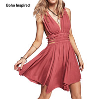 backless dress sexy summer dress women cotton sleeveless mini V-neck fashion boho hippie chic elegant party vestidos clothing