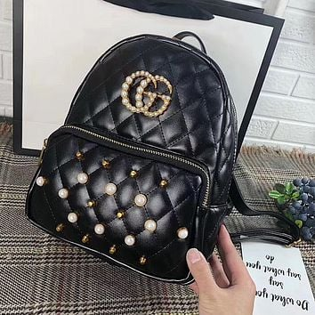 GUCCI : Women Casual School Bag Cowhide Leather Backpack