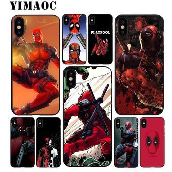 YIMAOC Deadpool 2 Movie Soft TPU Black Silicone Case for iPhone X or 10 8 7 6 6S Plus 5 5S SE Xr Xs Max