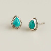 Sterling Silver Turquoise Teardrop Stud Earrings - World Market